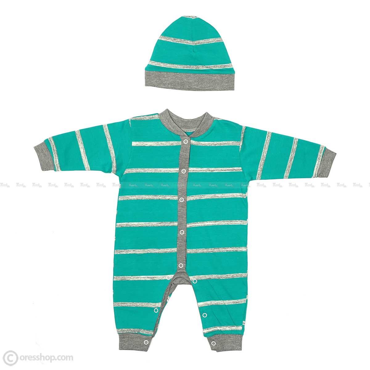 سرهمی و کلاه نوزادی راه راه سبزآبی-تصویر اصلی
