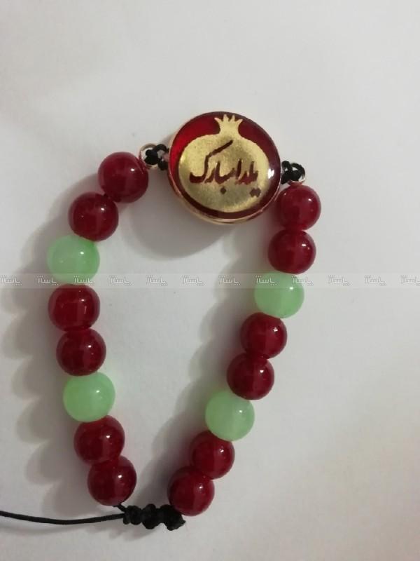 دستبند مهره ای یلدا با پلاک برنجی رنگ ثابت یلدا مبارک-تصویر اصلی
