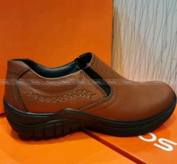 کفش چرم مصنوعی قهوه ای بدون بند مردانه آقای چرم-تصویر اصلی