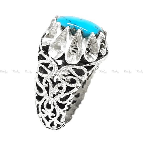 انگشتر نقره مردانه فیروزه نیشابور کد R10-تصویر اصلی
