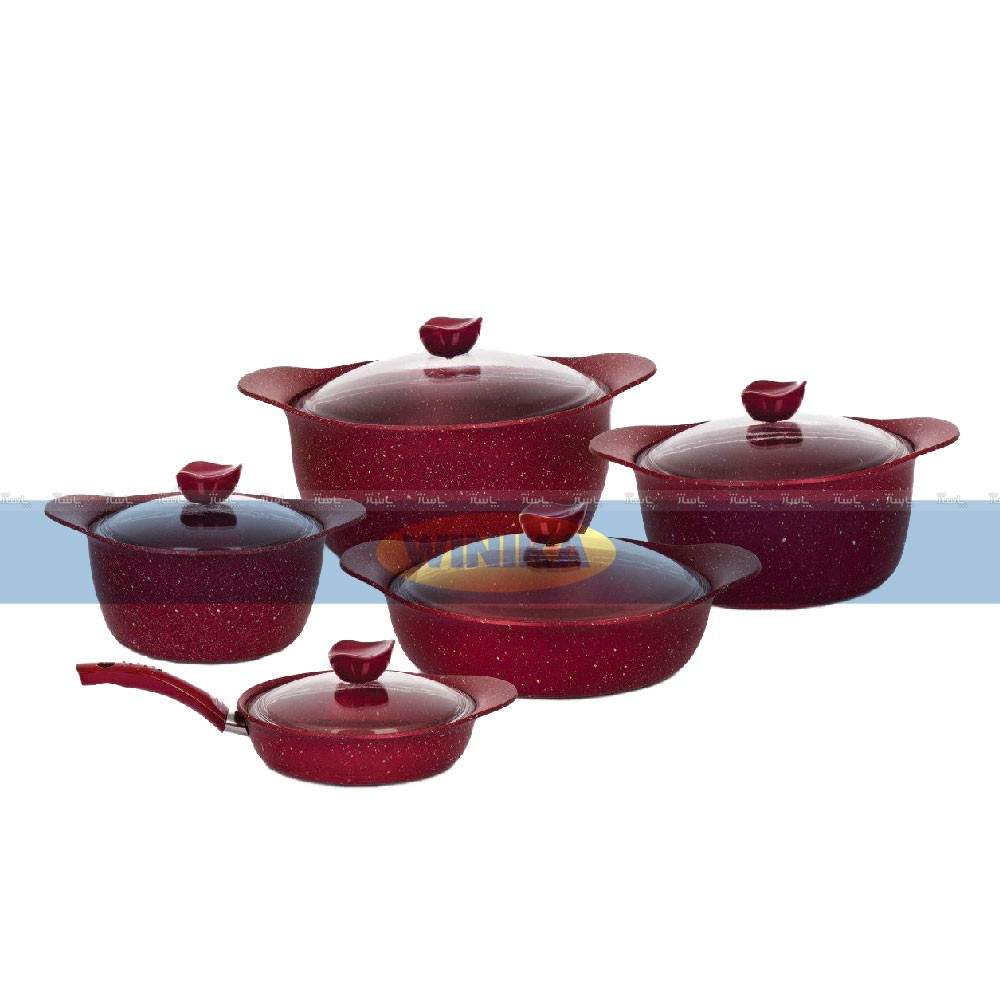 سرویس قابلمه 10 پارچه ظافر مدل Forged-Red-تصویر اصلی