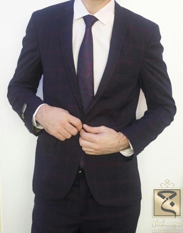 کت و شلوار چهارخانه بادمجانی-تصویر اصلی