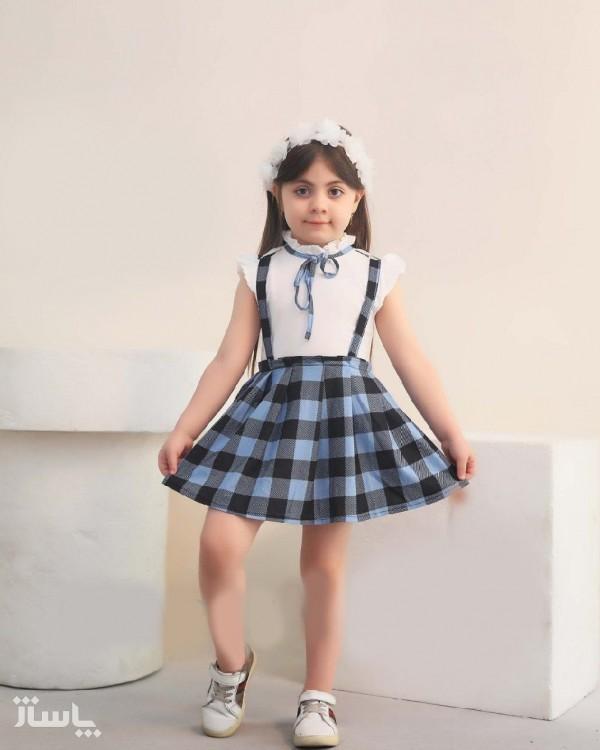 دوتیکه پیراهن دامن و تل دخترانه آیناز-تصویر اصلی