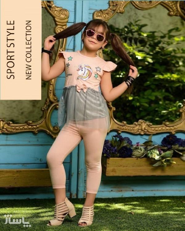 ست تیشرت شلوار و تل دخترانه طرح یونیکورن-تصویر اصلی