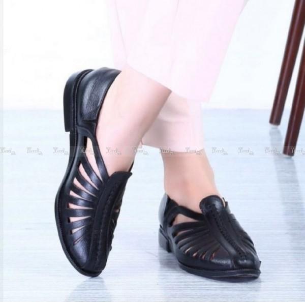 کفش تخت اسپرت لیزری چرم-تصویر اصلی