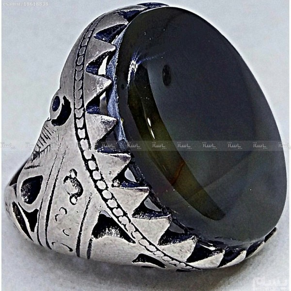 انگشتر غول سنگین جزع یشمی فاخر-تصویر اصلی