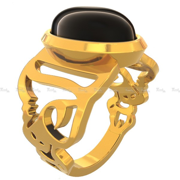 انگشتر نقره اسم مهسا با سنگ اونیکس-تصویر اصلی