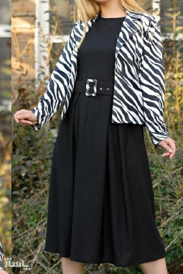 سارافون زنانه کرپ مدل المیرا دو تیکه-تصویر اصلی