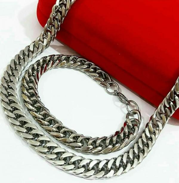 نیم ست زنجیر دستبند در دورنگ-تصویر اصلی