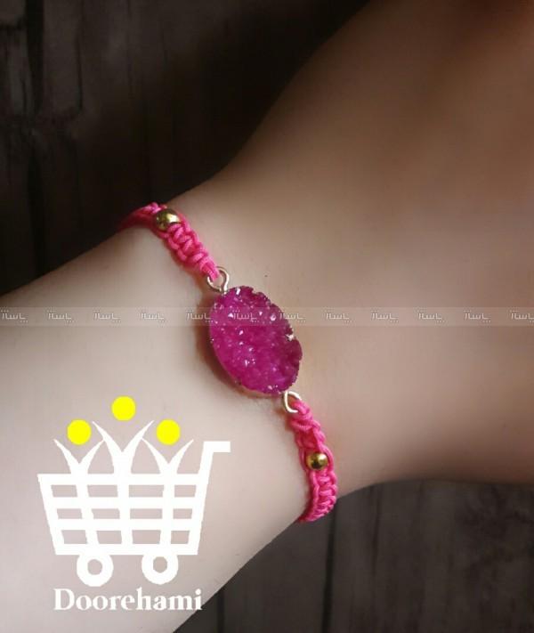 دستبند بافت و سنگ صورتی-تصویر اصلی