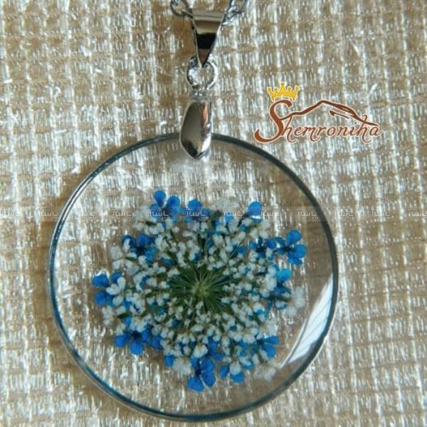 نیم ست دست ساز گل های قاصدکی آبی و سفید با فریم فلزی کد ۵۴۰۰-تصویر اصلی