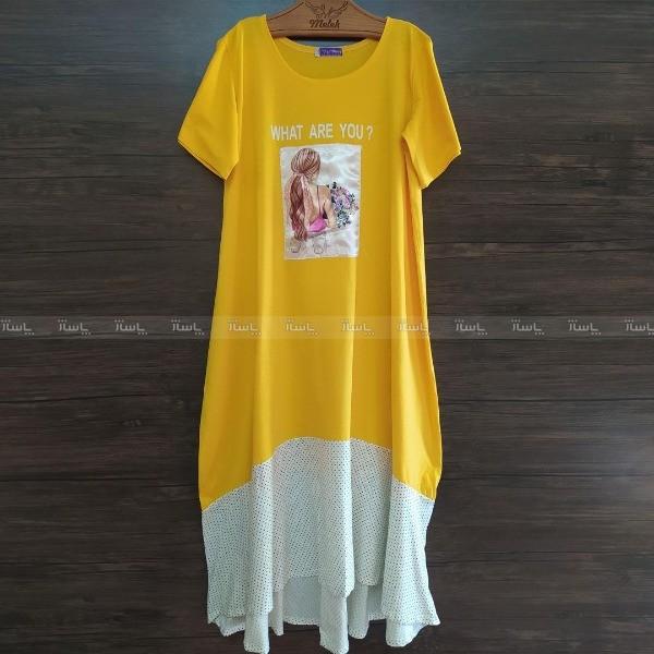 پیراهن یقه گرد آستین کوتاه طرح دار 4154-تصویر اصلی