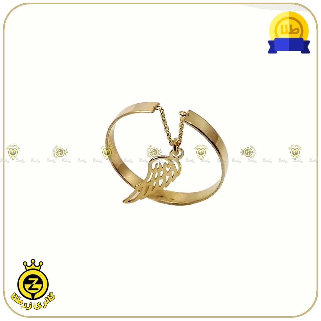انگشتر طلا فری سایز با آویز بال پرنده-تصویر اصلی