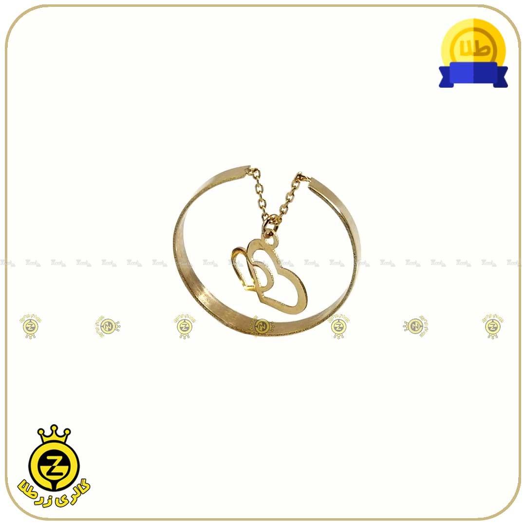 انگشتر طلا فری سایز با آویز قلب دوتایی-تصویر اصلی