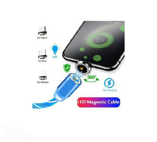 کابل شارژر مگنتی سه سر LED رنگی-تصویر اصلی