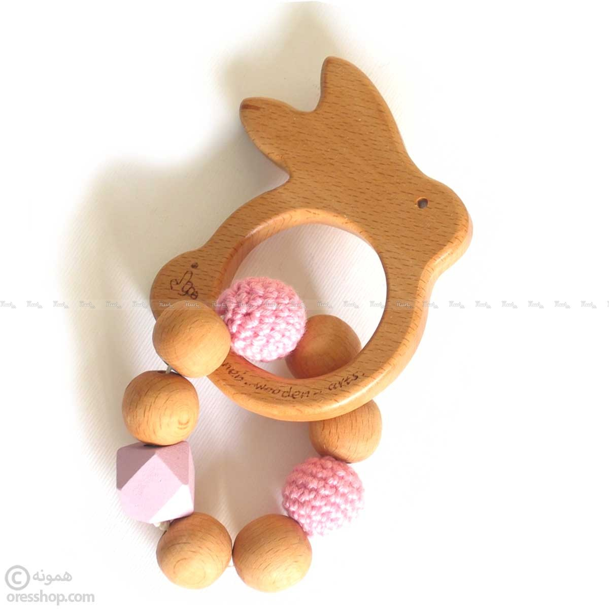 دندونی چوبی دخترانه خرگوش با مهره-تصویر اصلی