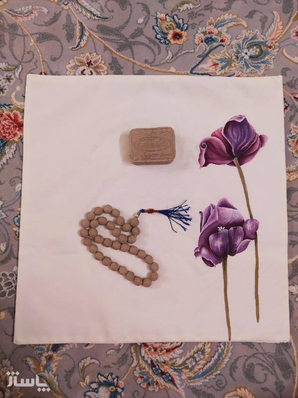 جانماز طرح دو گل ارغوانی-تصویر اصلی