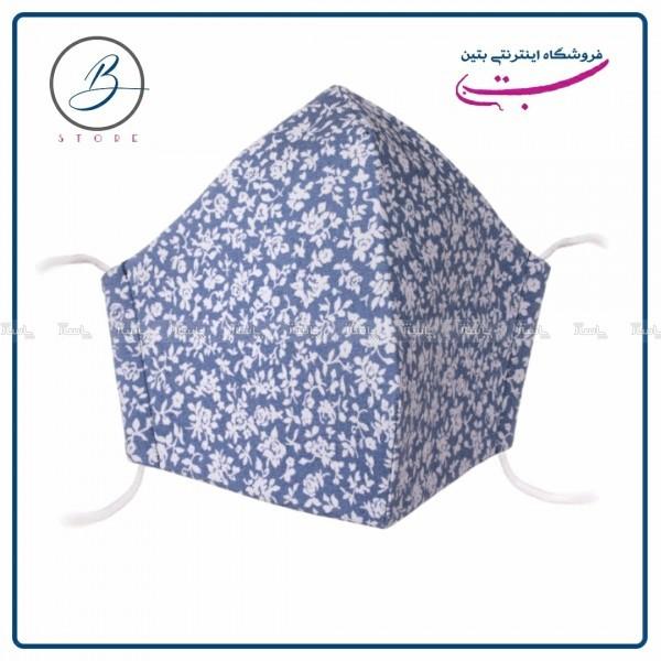 ماسک پارچه ای جین (تنسل) آبی گلدار ۴ لایه-تصویر اصلی