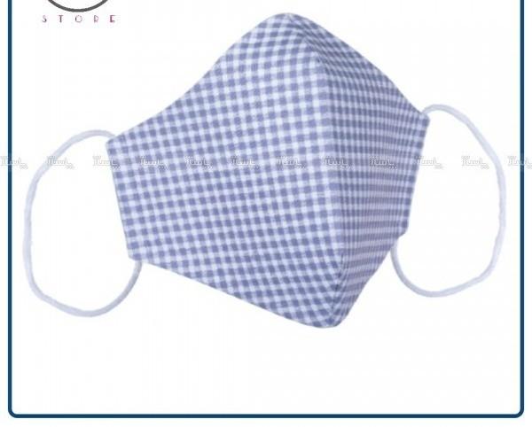 ماسک پارچه ای کتان نخ چهار خانه طوسی ۴ لایه-تصویر اصلی