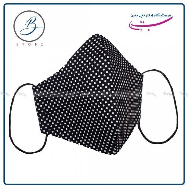 ماسک پارچه ای کتان نخ مشکی خالدار ۴ لایه-تصویر اصلی