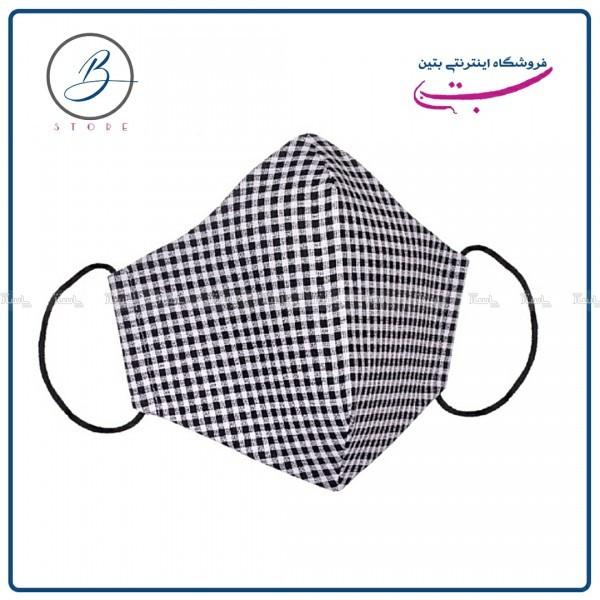 ماسک پارچه ای کتان نخ چهار خانه مشکی ۴ لایه-تصویر اصلی