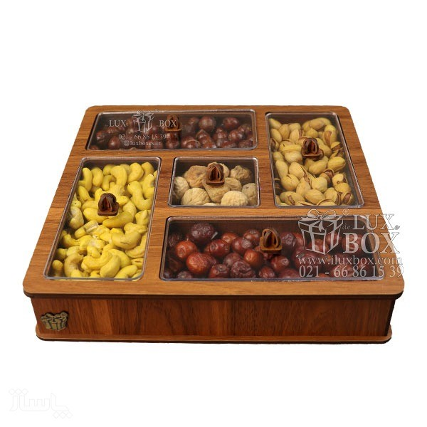 جعبه آجیل خشکبار جعبه پذیرایی دمنوش چوبی لوکس باکس کد LB 28 - 01-تصویر اصلی