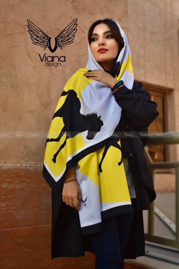شال طرح اسب زرد و طوسی-تصویر اصلی