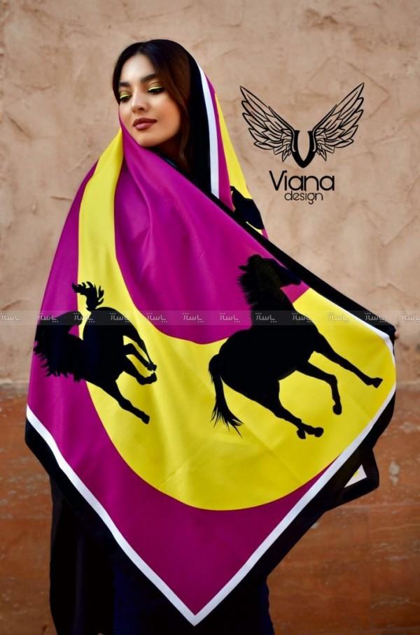 شال طرح اسب زرد و بنفش-تصویر اصلی