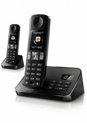 تلفن بی سیم منشی دار صفحه رنگی دو گوشی فیلیپس مدل D6052B