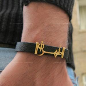 دستبند چرم مردانه طرح طهران-تصویر 2