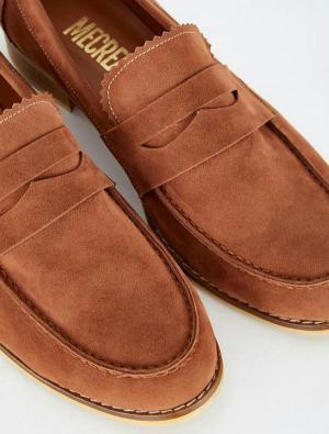کفش تخت آکسفورد – لوفر زنانه شتری جیر راحتی MECREA 119832-تصویر 2