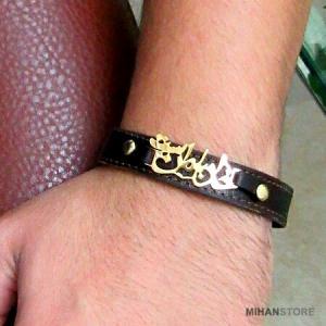 دستبند چرم طرح خدا با من است-تصویر 2
