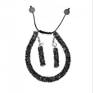 دستبند سوارسکی همراه ست گوشواره خاکستری-تصویر 2