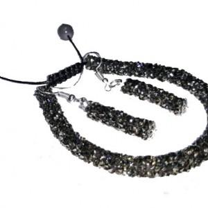 دستبند سوارسکی همراه ست گوشواره خاکستری