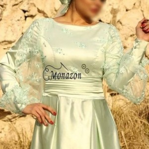 پیراهن ساتن سبزکوتاه-تصویر 2