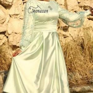 پیراهن ساتن سبزکوتاه-تصویر 3