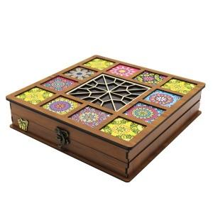 جعبه آجیل پذیرایی جعبه چوبی مدل چاپی کد LB042