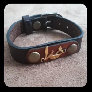 دستبند چرم گاوی پلاک استیل-تصویر 2