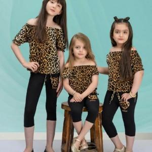 بلوز پلنگی و ساپورت دخترانه-تصویر 3