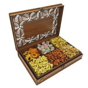 جعبه آجیل و خشکبار جعبه پذیرایی جعبه چوبی مدل شاه عباسی کد LB044-تصویر 4
