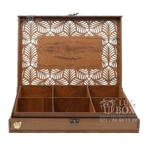 جعبه آجیل و خشکبار جعبه پذیرایی جعبه چوبی مدل شاه عباسی کد LB044-تصویر 3