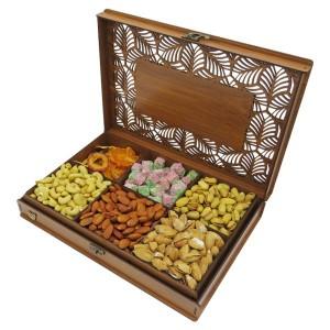 جعبه آجیل و خشکبار جعبه پذیرایی جعبه چوبی مدل شاه عباسی کد LB044-تصویر 5