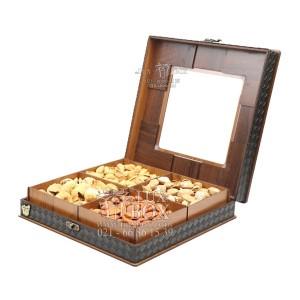 جعبه آجیل و خشکبار جعبه پذیرایی جعبه چوبی مدل چرم کد LB043-تصویر 2
