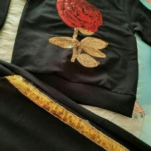 دو تیکه دخترانه طرح گل رزبرجسته-تصویر 3
