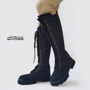بوت زنانه ساق بلند چرم نبوک زیپی-تصویر 4