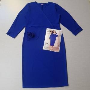 پیراهن یقه ضربدری آستین بلند با کمربند-تصویر 2