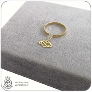 انگشتر طلا فری سایز با آویز قلب و بینهایت
