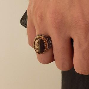 انگشتر نقره مردانه سنگ صدف ( مدل ساحل )-تصویر 2