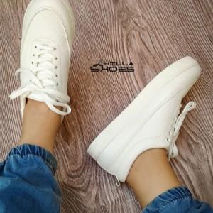 کفش تخت ونس چرم بندی تمام سفید-تصویر 3