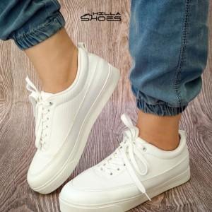 کفش تخت ونس چرم بندی تمام سفید-تصویر 4